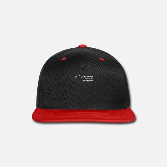 Confession Caps - Definition of programmer - Snapback Cap black/red