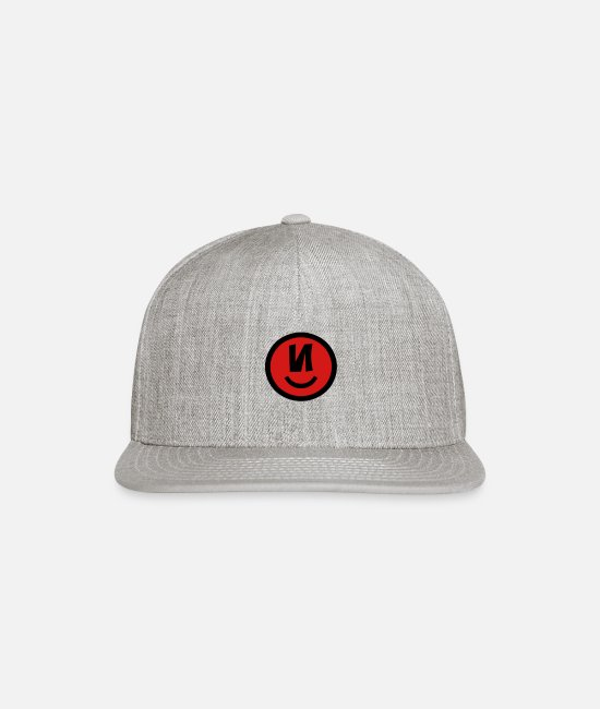 Caps & Hats - ♥☺↷Happy Smiley Alphabet Initial Letter-N↶☺♥ - Snapback Cap heather gray