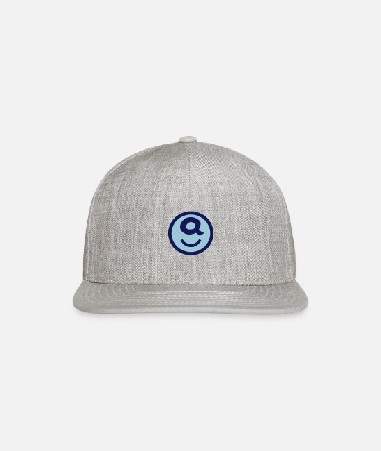 Caps & Hats - ♥☺↷Happy Smiley Alphabet Initial Letter-Q↶☺♥ - Snapback Cap heather gray