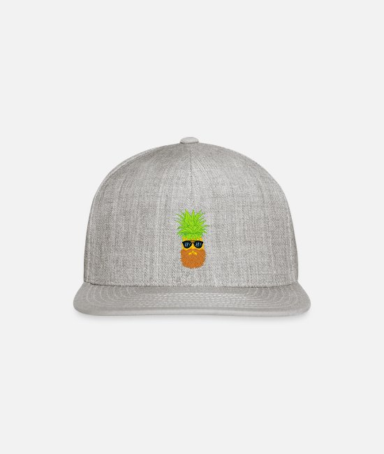 Beard Caps & Hats - Bearded Fruit Cool Pineapple Graphic Tshirt - Snapback Cap heather gray