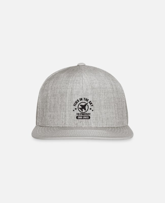 Pilot Caps & Hats - Flies In The Sky To Protect Our Lives - Air Force - Snapback Cap heather gray