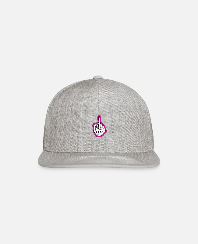 Middle Finger Caps & Hats - Pink Skeleton Middle Finger - Snapback Cap heather gray