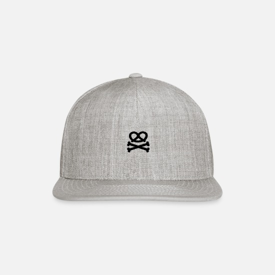 Skull Caps - Pretzel Skull and Crossbones - Snapback Cap heather gray