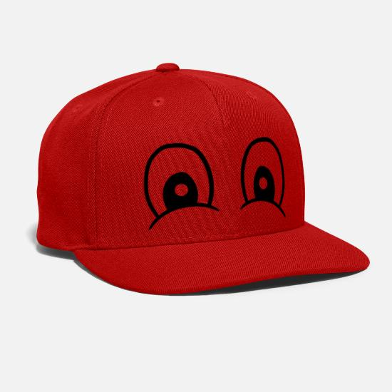 Face Caps - cool funny happy eyes happy face look watch comic - Snapback Cap red