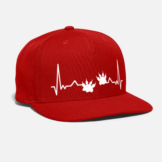 Heartbeat Caps - Wildelife Paw Heartbeat Animal Paw Print - Snapback Cap red