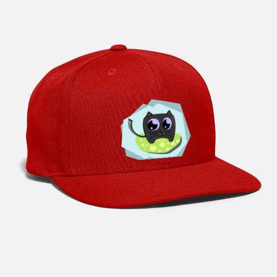 Black Caps - Sweet black cat with blue background - Snapback Cap red