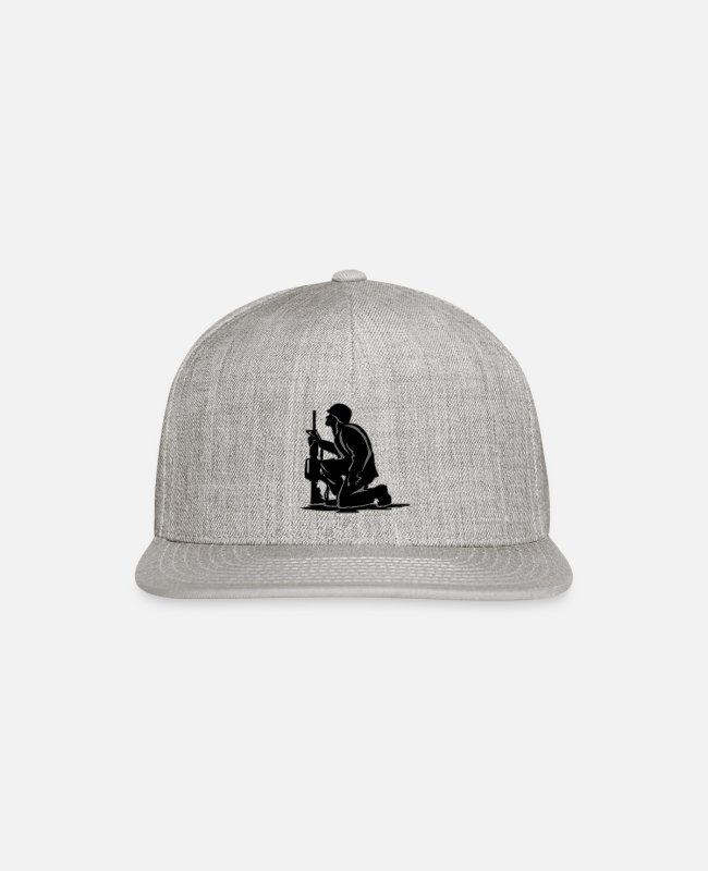 Storm Caps & Hats - Military Serviceman Kneeling Warrior Tribute Illus - Snapback Cap heather gray