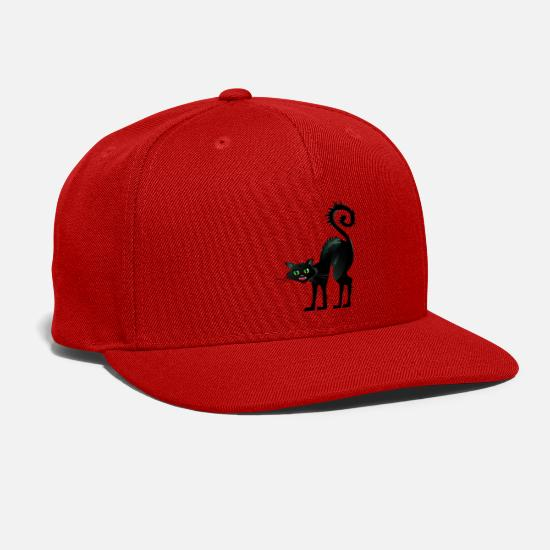 Annoy Caps - Angry Black Cat - Snapback Cap red