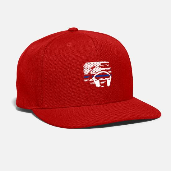 911 Caps - 911 Dispatcher Flag Shirt - Snapback Cap red
