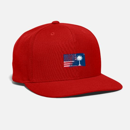 Carolina Caps - South Carolina American Flag - Snapback Cap red