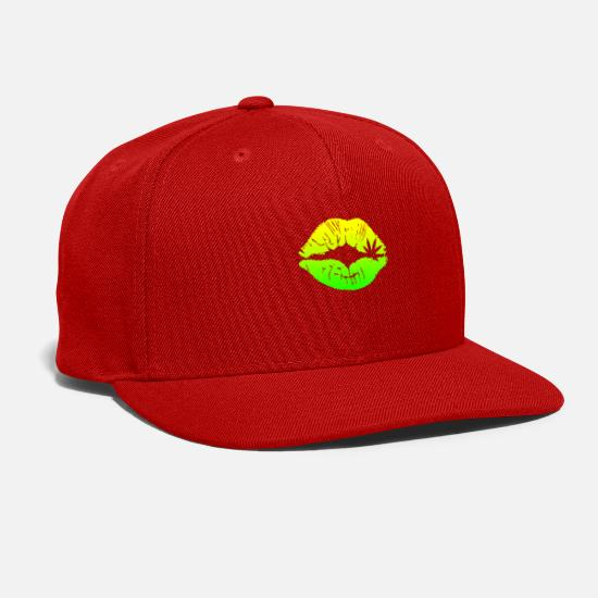 Birthday Caps - Sexy Green Lips - Snapback Cap red