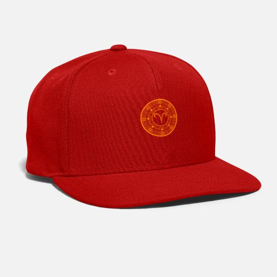 98460932 Signs Caps - Aries Zodiac Astrology Circle Ram Sign Astronomy - Snapback Cap  red