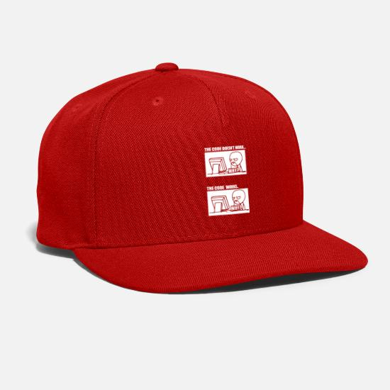 Geek Caps - The Code Doesn't Work The Code Works Why? - Snapback Cap red