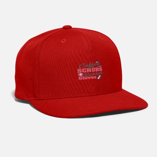 Assistant Caps - Coffee Scrubs and Rubber Gloves Nurse - Snapback Cap red