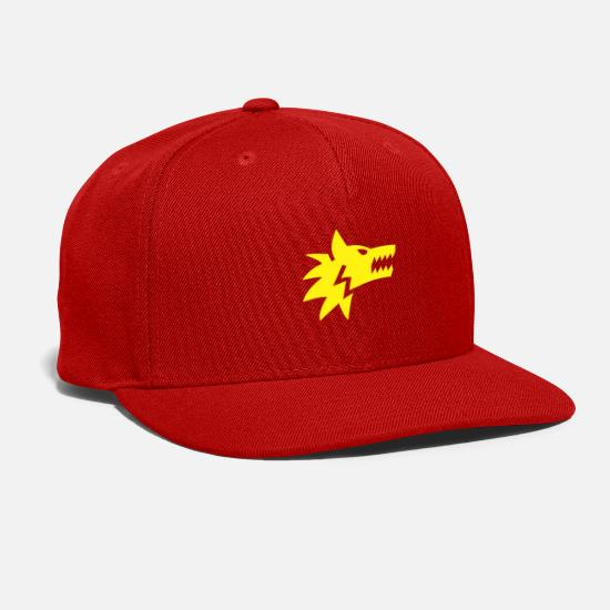 Dragon Head Caps - yellow dragon - Snapback Cap red