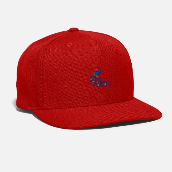 Peacock Caps - Pretty Blue Peacock and Queens are born in July - Snapback Cap red