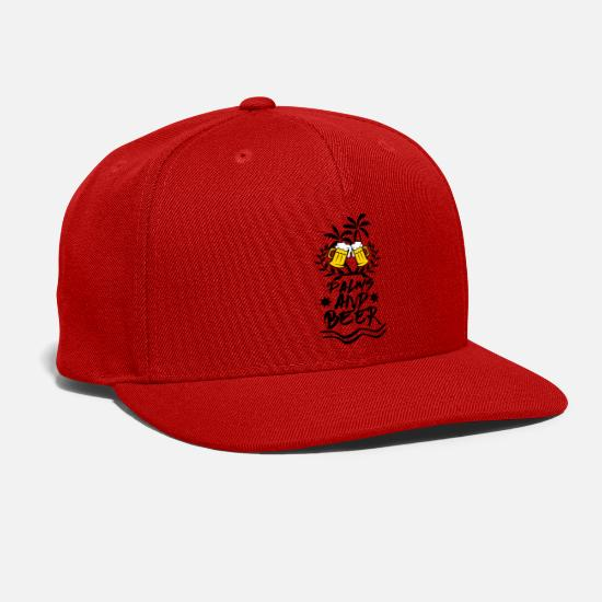 Aussie Caps - Palms and Beer / Party Design - Snapback Cap red