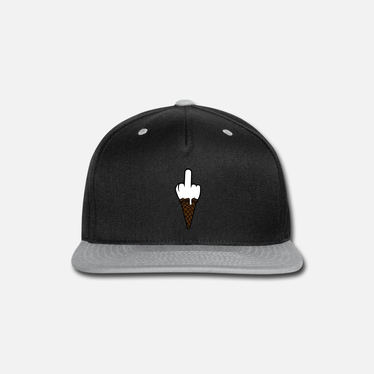 a4d76dfc0 ice ball fuck you wanker insult middle finger ice Snap-back Baseball Cap -  black/gray