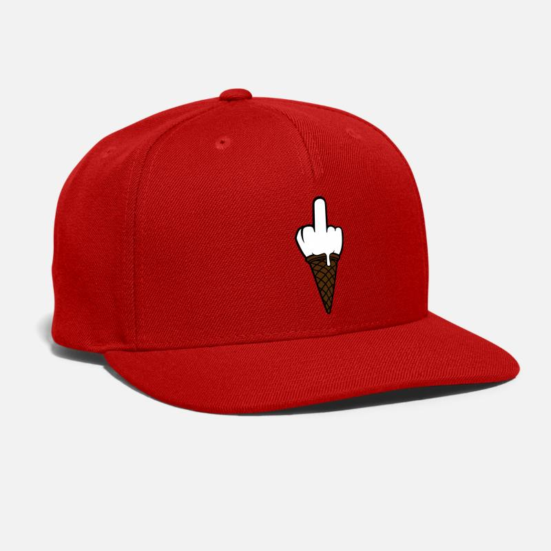0014a8941 ice ball fuck you wanker insult middle finger ice Snap-back Baseball Cap -  red