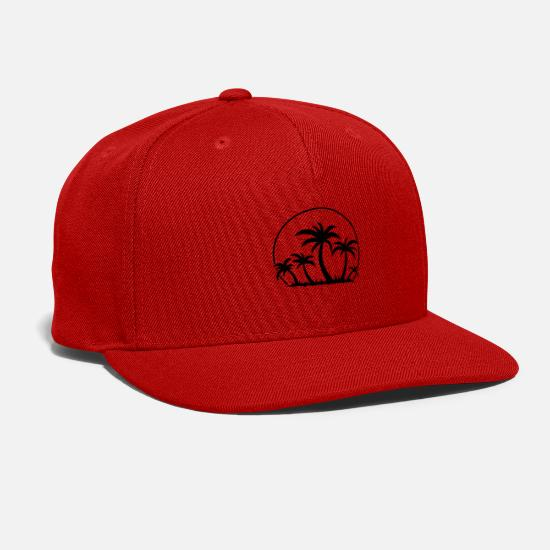 Trees Caps - Palm Trees And Sunset - Snapback Cap red
