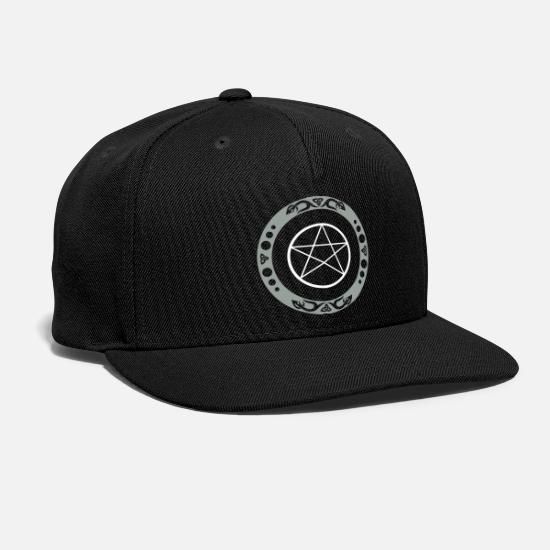 Pentagram Caps - Big pentagram with trinity symbol. - Snapback Cap black
