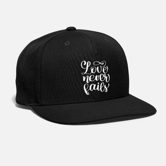 Christian Caps - Love Never Fails Christian Quote - Snapback Cap black