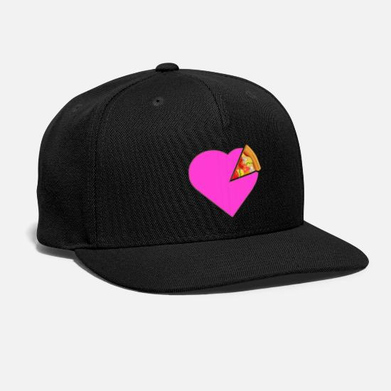 Love Caps - Heart Pizza Pink Love Fast Food Gift Love - Snapback Cap black