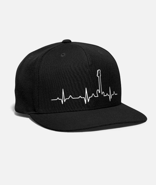 Bass Player Caps - Bass Guitar Player Hearbeat - Snapback Cap black