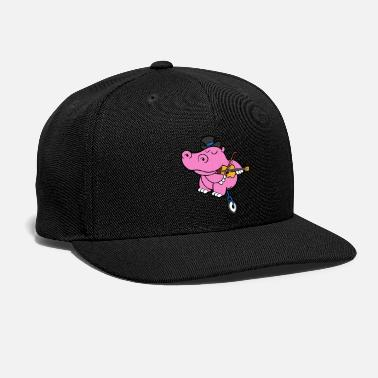 Illustration Funny Cool Cute Hippopotamus Hippo Unicycle Violin - Snap-back Baseball Cap