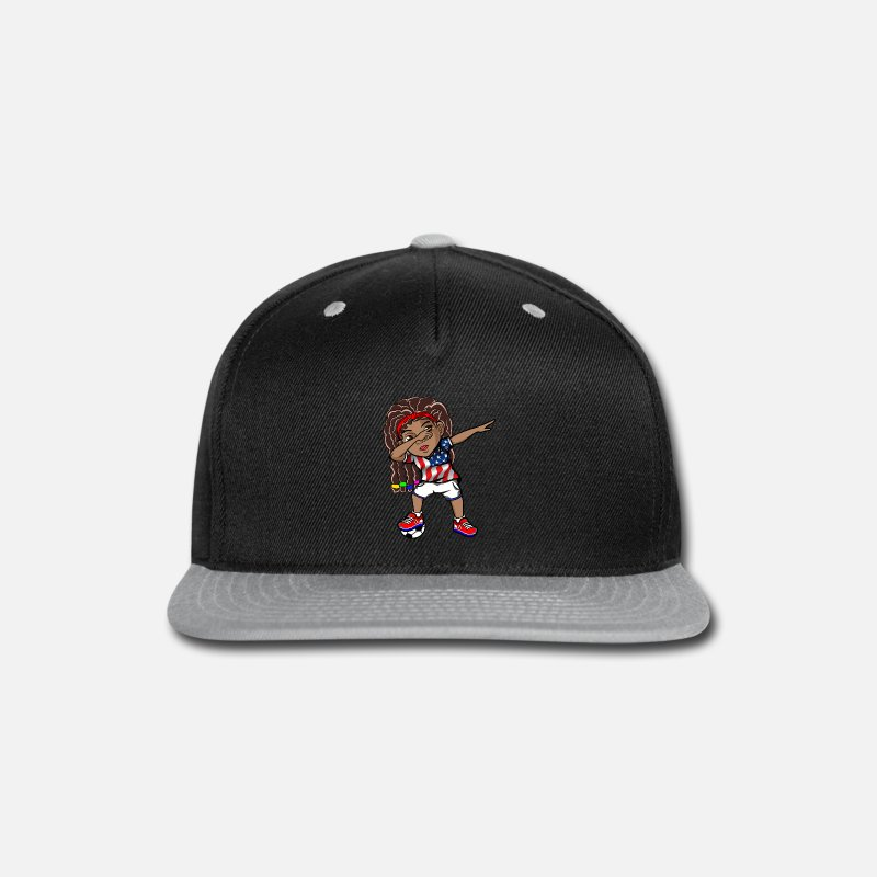 10d8761a Dabbing Girl Kid Princess Afro USA Flag Black Dab Snapback Cap   Spreadshirt