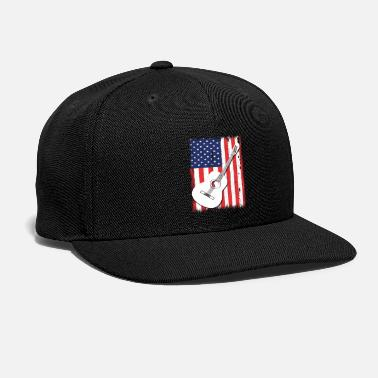 Heavy Metal American Flag Guitar Patriotic Guitarists T-Shirt - Snapback Cap