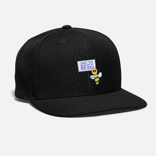 Flowers Caps - Save the Bees, bee with demonstration sign - Snapback Cap black