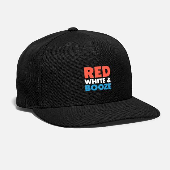 Patriot Caps - Red White & Booze - 4th of July Party print - Snapback Cap black
