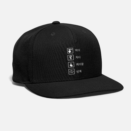 Kpop Caps - Eat Sleep KPop Repeat Hangul - Snapback Cap black
