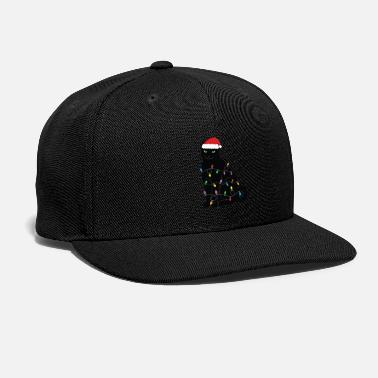 Black Light Black Cat with Xmas Lights - Snapback Cap
