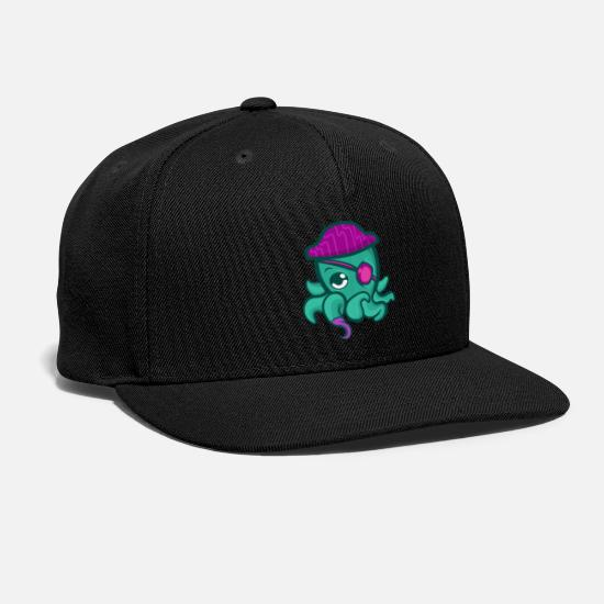 Pirate Caps - Green Octopus Pirate Captain Cute Squid - Snapback Cap black