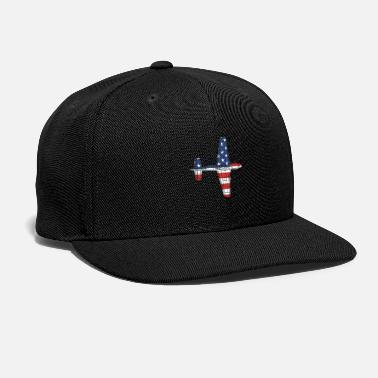 Blueprint P51D Mustang Fighter Plane Schematic American Flag - Snapback Cap