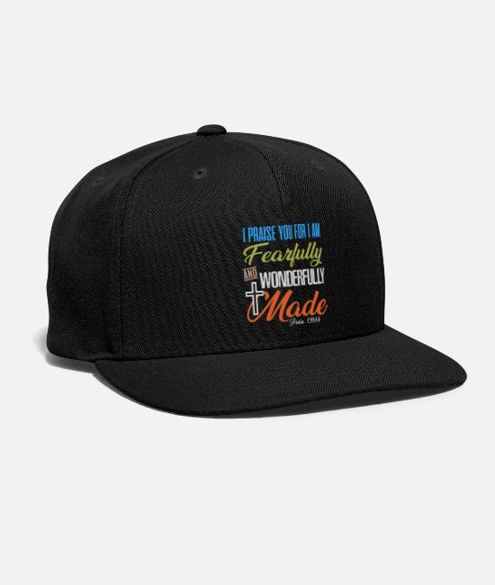 Bible Verses Caps & Hats - Fearfully and wonderfully made Christian T Shirts - Snapback Cap black