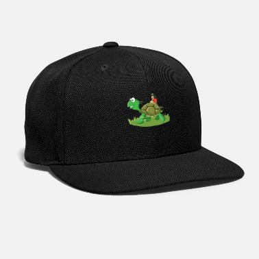 Snail Riding Turtle Snail Riding on a Turtle - Snapback Cap