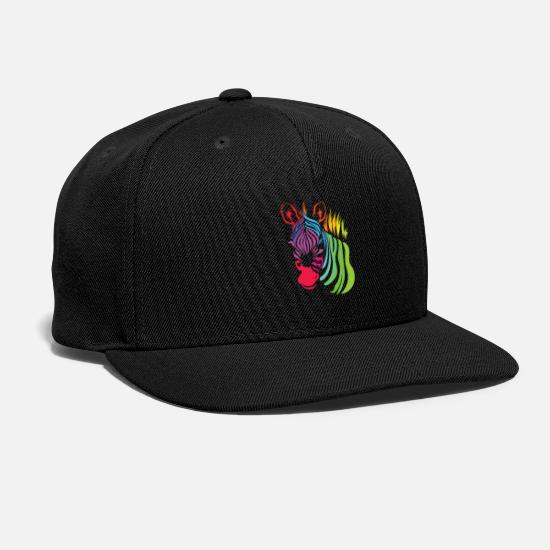 Zebra Caps - Vivid Color Zebra Africa Colorful Gift Idea Animal - Snapback Cap black