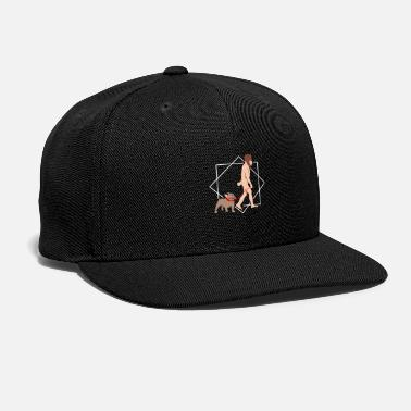 Primitive Man Evolution Man with French Bulldog - Gift Idea - Snapback Cap