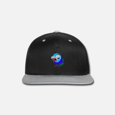 Illustration Big Eye Blue Bird Graphic Illustration - Snapback Cap