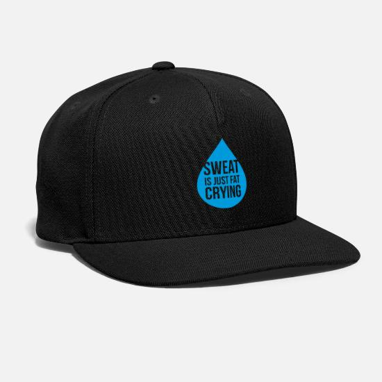 Father And Son Caps - Sweat Is Just Fat Crying funny tshirt - Snapback Cap black