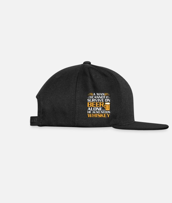 A Man Cannot Survive On Beer Alone Caps & Hats - Man Cannot Survive on Beer Alone Also Needs - Snapback Cap black