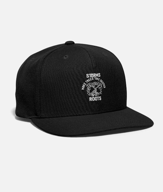 Tornado Fan Caps & Hats - Storms Make Trees Take Deeper Roots Motivation - Snapback Cap black
