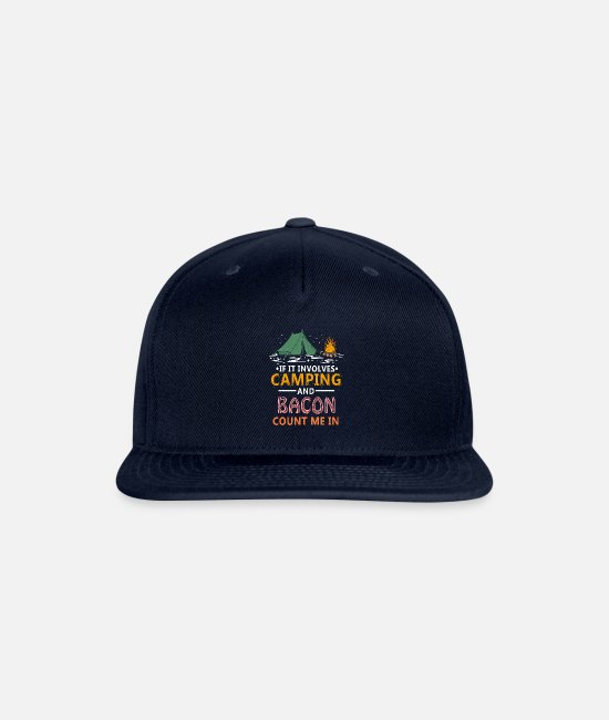 Schland Caps & Hats - Camping And Bacon Count Me In rv - Snapback Cap navy