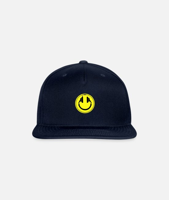 Acid House Caps & Hats - Headphones smiley wire plug - Snapback Cap navy