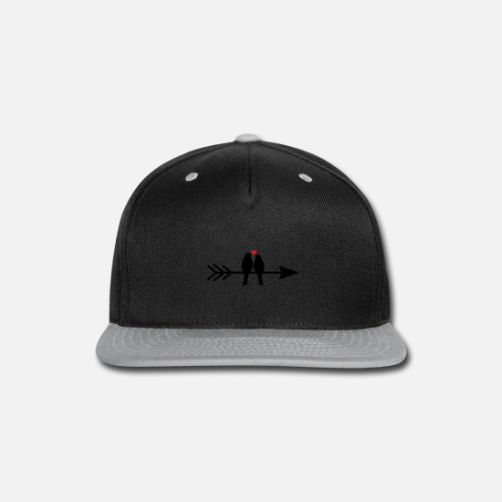 Love Caps - bird birds heart pair on arrow gift love - Snapback Cap black/gray