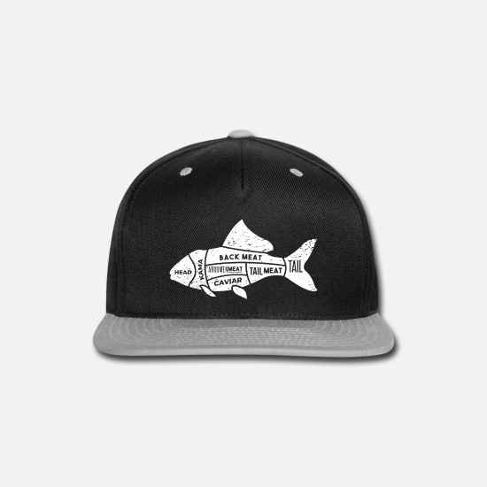 Gift Idea Caps - Fish fillet salmon sushi fillet meat pieces - Snapback Cap black/gray