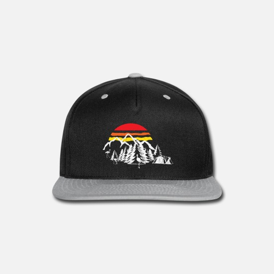 Birthday Caps - Camping Life - Mountains, Forrest and Sunset - Snapback Cap black/gray
